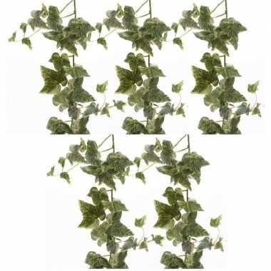 5x nep planten groene/witte hedera helix klimop hangplant kunstplante