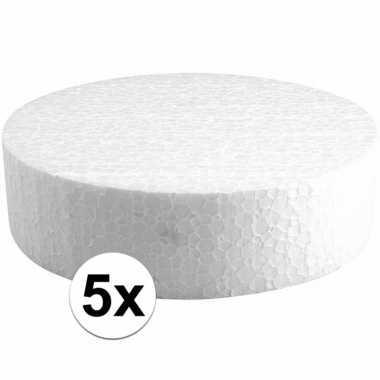 5x piepschuimen taart schijven 15 cm