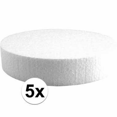 5x piepschuimen taart schijven 20 cm