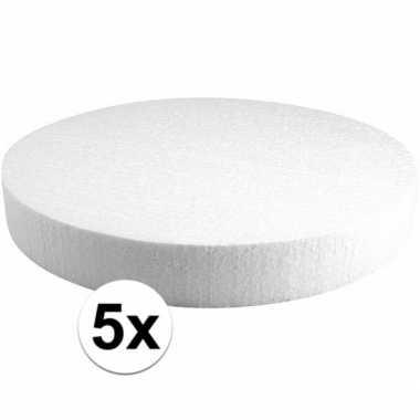 5x piepschuimen taart schijven 30 cm