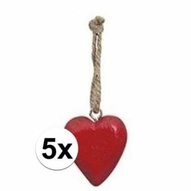 5x rood hartje aan hanger 5 cm