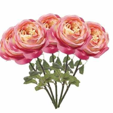 5x roze kunstroos kunstbloemen 66 cm decoratie