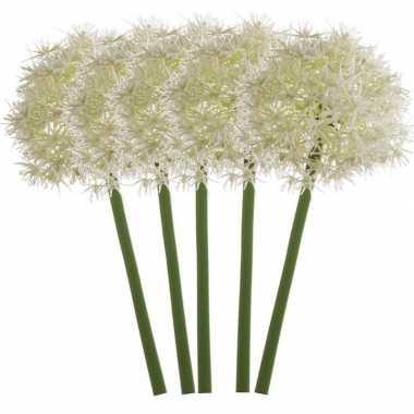 5x witte kunst allium/sierui kunstbloemen 65 cm decoratie