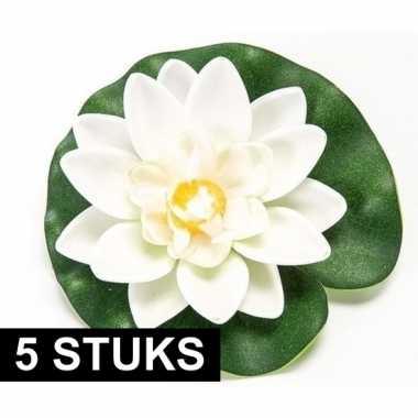 5x witte kunst waterlelie kunstbloemen 10 cm decoratie