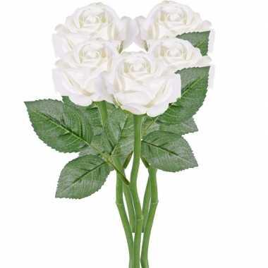 5x witte kunstroos kunstbloemen 27 cm decoratie