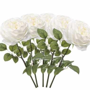 5x witte kunstroos kunstbloemen 66 cm decoratie