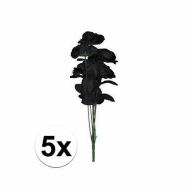 5x zwarte rozen boeket 12 stuks