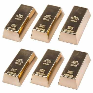 6 stuks magneetjes goudstaaf 6 cm