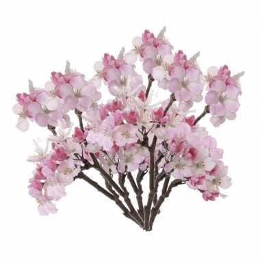 6 stuks roze nep appelbloesem kunstbloemen takken 36 cm