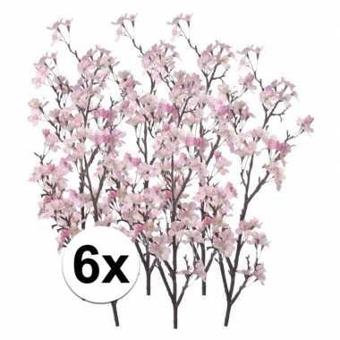 6 takken appelbloesem roze 104 cm