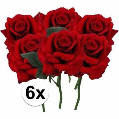 6 x kunstbloemen steelbloem rode roos deluxe 31 cm