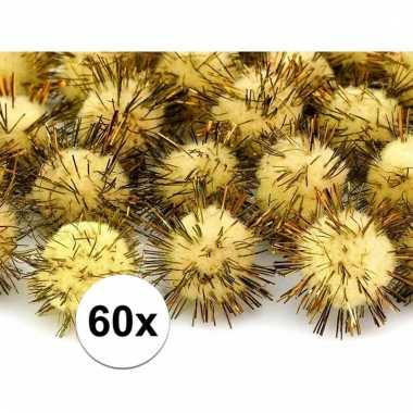 60x hobby pompons 20 mm geel