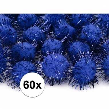60x hobby pompons 20 mm kobalt blauwe
