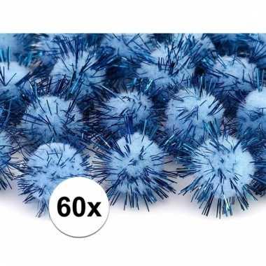 60x hobby pompons 20 mm lichtblauw