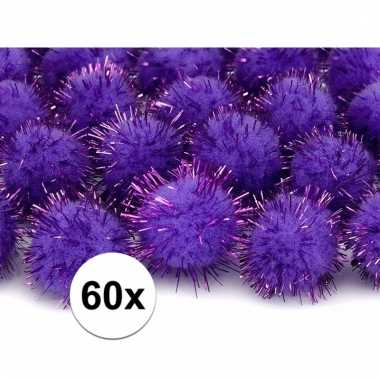 60x hobby pompons 20 mm paarse