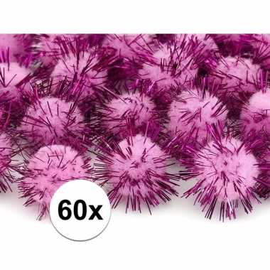 60x hobby pompons 20 mm roze