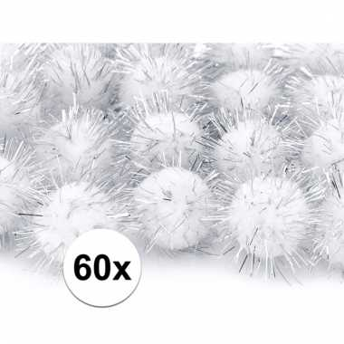 60x hobby pompons 20 mm witte