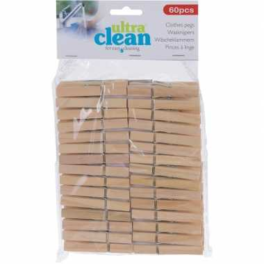 60x houten wasgoedknijpers 7 cm