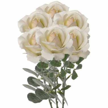 6x creme witte kunstroos kunstbloemen 37 cm decoratie