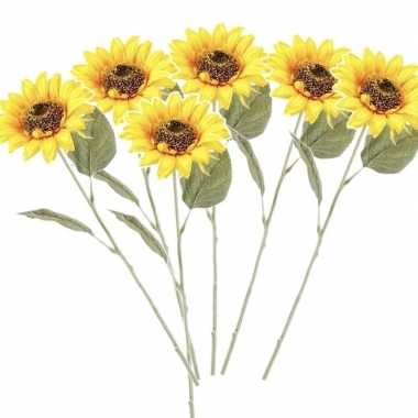 6x gele kunst zonnebloem kunstbloemen 62 cm decoratie