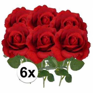 6x kunstbloemen roos rood 37 cm