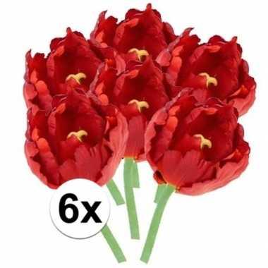 6x kunstbloemen tulp rood 25 cm