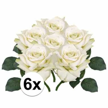 6x kunstbloemen witte roos 31 cm