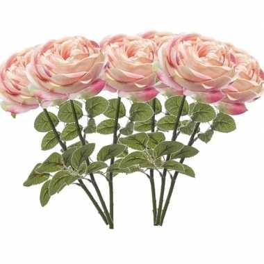 6x lichtroze kunstroos kunstbloemen 66 cm decoratie