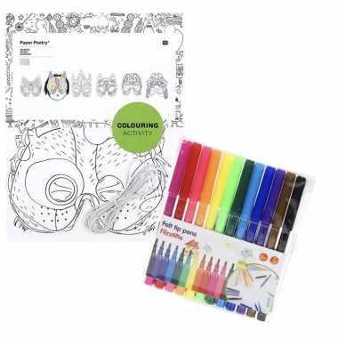 6x maskers om in te kleuren met stiften voor kinderen