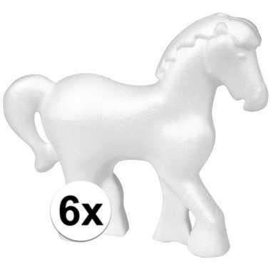 6x piepschuim paarden 15 cm