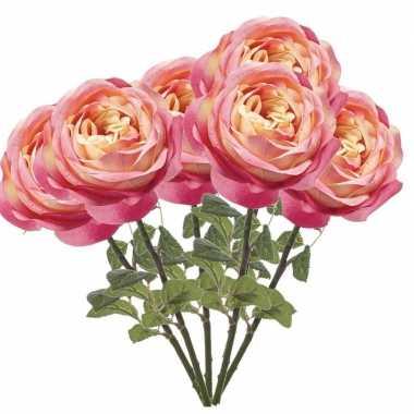6x roze kunstroos kunstbloemen 66 cm decoratie
