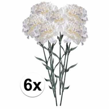 6x witte dianthus kunstbloem 65 cm