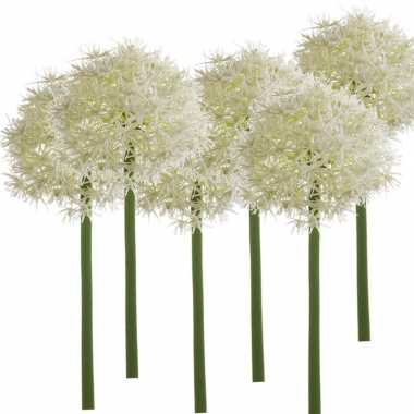 6x witte kunst allium/sierui kunstbloemen 65 cm decoratie