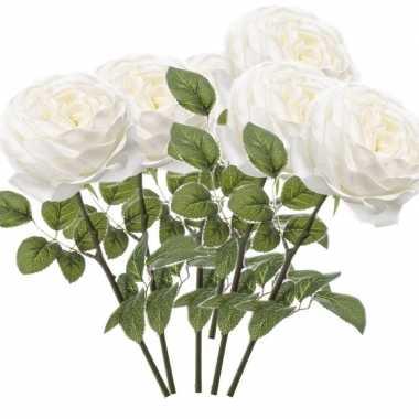 6x witte kunstroos kunstbloemen 66 cm decoratie