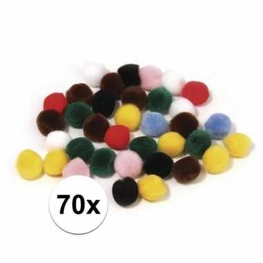 70x hobby pompons 25 mm gekleurd