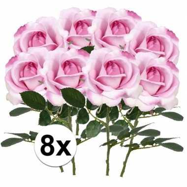 8 x kunstbloemen steelbloem roze roos carol 37 cm