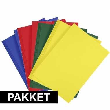 8x a4 hobbykarton in vier kleuren blauw/rood/donkergroen/geel