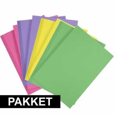 8x a4 hobbykarton in vier kleuren fuchsia roze/geel/groen/paars