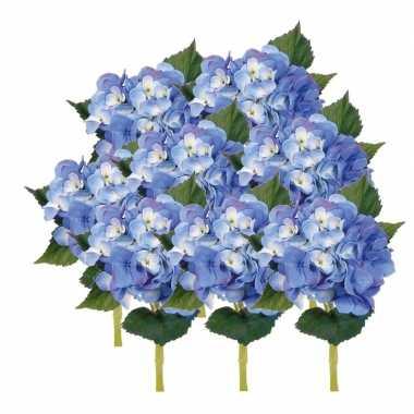 8x blauwe hortensia kunstbloemen met steel 48 cm
