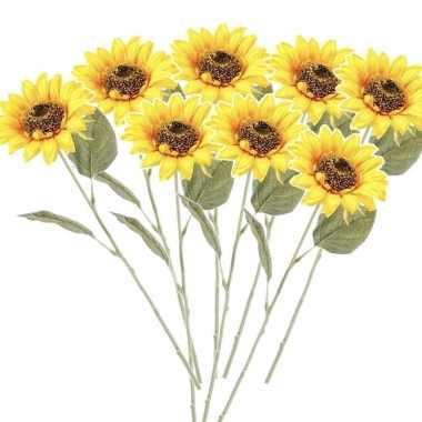 8x gele kunst zonnebloem kunstbloemen 62 cm decoratie