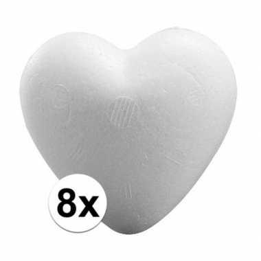 8x knutsel hartjes piepschuim 9 cm