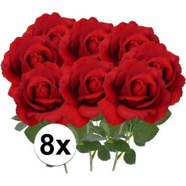 8x kunstbloemen roos rood 37 cm