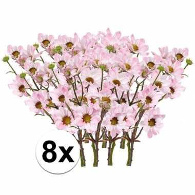8x kunstbloemen tak licht roze margriet 44 cm