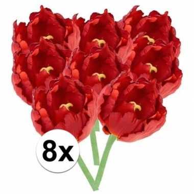 8x kunstbloemen tulp rood 25 cm