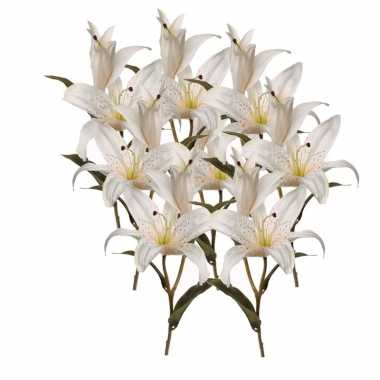 8x kunstbloemen witte lelies 77 cm