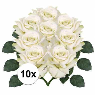 8x kunstbloemen witte roos 31 cm