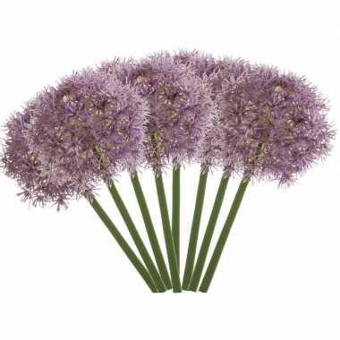 8x lila paarse kunst allium/sierui kunstbloemen 65 cm decoratie