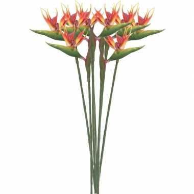 8x nep planten oranje/gele strelitzia paradijsvogelbloem kunstbloemen