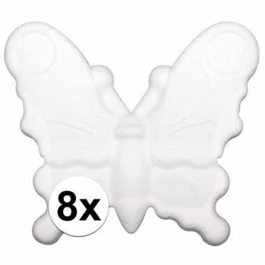 8x piepschuim vlinders van 12,5 cm