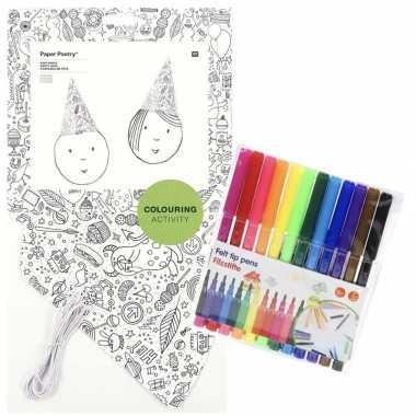 8x punt hoedjes om in te kleuren met stiften voor kinderen